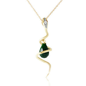 14k.Solid Yellow Gold Snake Necklace With Dangling Dyed Green Sapphire & Diamond