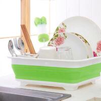 Collapsible Washing Up Bowl Dish Draining Drainer Folding Water Reusable Rack