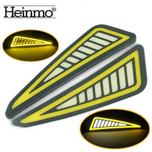 2 x Car LED Bumper Strip COB Daytime Running Light DRL Yellow Turn Signal Lamps