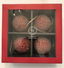 Martha Stewart Shatterproof Red Black White Bandana Print Christmas Ornaments