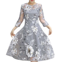 Women's Summer Beach Organza Floral Print Wedding Party Holiday Cocktail Dress E