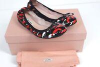 NEW Miu Miu Black Red White Pistol Gun Print Ballet Flats Shoes 37.5 UK 4.5