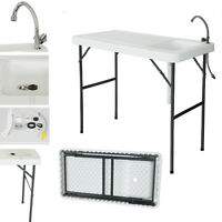 Portable Camping Folding Fish Cutting Table Sink Faucet Durable Outdoor Garden