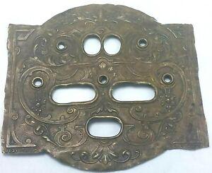 Antique Gesetzlich Geschutzt Signed Brass Switch Plate