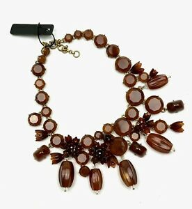 J.CREW NWT $148 Brown Crystal Floral Flower Gold Tone Statement Necklace