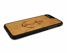Handcrafted Wood iPhone 7 Plus Case with Soft Rubber Sides by Nuwoods, Anchor