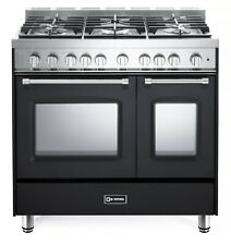 "Verona Prestige Vpfsgg365De 36"" All Gas Range Double Oven 5 Burner Matte Black"