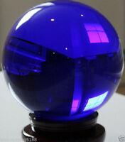 Asian Rare Natural Quartz Blue Magic Crystal Healing Ball Sphere 80mm+Stand