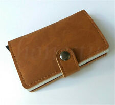 Aluminum RFID Card Holder Synthetic Leather Wallet Credit Card Protector 4 Color