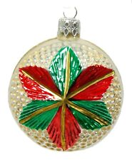 Vintage Red Green Gold Flat Ball Christmas Ornament Holiday Decoration