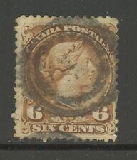 Canada # 27a (Yellow Brown), 1868 6c Queen Victoria, 2-Ring Bullseye Cancel