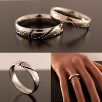 NEW Silver Plated Womens Wedding Ring Mens Band Half Love Heart (Size H to Z+5)