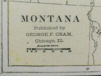 "Vintage 1900 MONTANA Map 22""x14"" ~ Old Antique Original GREAT FALLS LIVINGSTON"