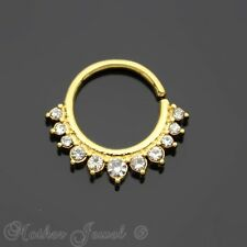 SIMULATED DIAMOND PAVED 14K YELLOW GOLD IP NOSE SEPTUM CARTILAGE HOOP RING