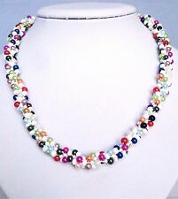 Handmade  Multi Coloured Faux Pearl Beads Kumihimo Braid Necklace