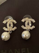 Chanel Silver Tone Crystal Pearl Drop Ear-Studs 100% Authentic