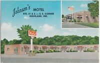Indiana In Postcard Roadside HIGHLAND Johnson's Motel Route 41 & 6
