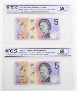 2016 Australia Consecutive Pair $5 Banknote Last Prefix SUPERB Gem Unc 68 PCGS