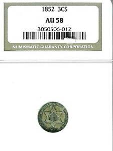 1852 Three Cent Silver : NGC AU58