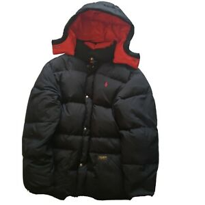 POLO RALPH LAUREN PUFFER JACKET COAT DOWN JACKET BLACK AND RED XL YOUTH