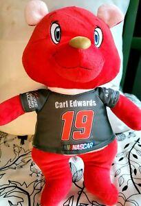 """Nascar CARL EDWARDS #19 SOFT BRIGHT RED TEDDY BEAR 13"""" Plush Stuffed Animal"""