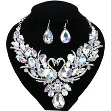 Double Swan AB Crystal Jewelry Set For Brides Necklace Earring Wedding Prom Sets