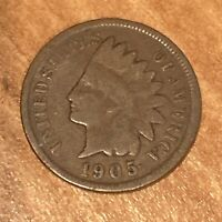 FREE SHIP! VG 1905 Indian Head Cent -116 Year Old Penny - Philadelphia Coin -L2