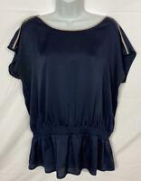 Ann Taylor Women's Blouse Sz Large Scoop Neck Elastic Waist Top Shirt Dark Blue