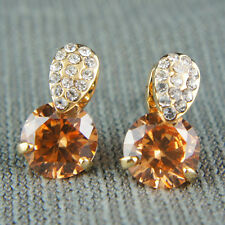 18k Gold GF orange Diamond simulant with Swarovski crystals drop earrings