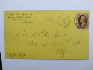 NY: NY City Delivery 1873 2c Brown Banknote Cover Fancy Foreign Mail Type Cancel