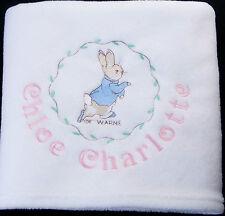 PERSONALISED PETER RABBIT BEATRIX POTTER BABY BLANKET EASTER BUNNY gift set NEW