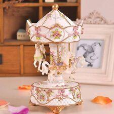 Romantic Music Box Carousel Music Box Merry-Go-Round For Birthday Gift White