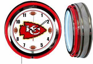 "Kansas City Chiefs 19"" Red Neon Clock Man Cave Game Room Garage Football Dial"