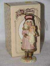 All Bisque Little Victorian Girl & Her Doll Christmas Ornament