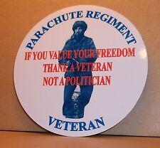 Parachute Regiment Veteran  9cm vinyl sticker personalised..