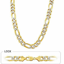 """104gm 14k Two Tone Gold White Pave Men's Figaro Heavy Necklace Chain 24"""" 10.5mm"""