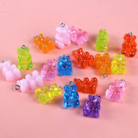 10X Colorful Resin Cute Bear Charms Pendant DIY Making Necklace Earrings Jewelry