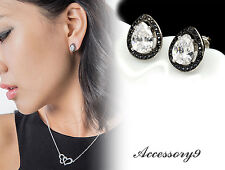 fashion black hematite Micro pave Cubic Zircon 925 silver stud pear earrings A20