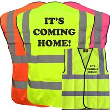 IT'S COMING HOME ! YELLOW HI VIZ VIS WAISTCOAT VEST SAFETY 3 LIONS, ENGLAND