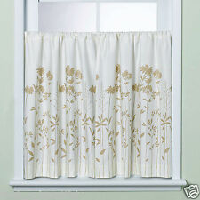 """Julia Ivory/Tan Contemporary Engineered Floral Tailored Tier Pair 60""""x36"""" Cotton"""