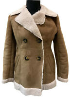 Redherring Faux Suede Sheepskin Coat Size 14 Womens Brown Mid Length Jacket