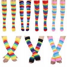 Women Girl Colorful Rainbow Striped Knee Thigh High Socks/Arm Leg Warmer Gloves