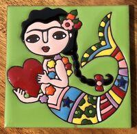 "Talavera Pottery 4"" tile Mexico FRIDA mermaid LIME GREEN rare color hi relief"