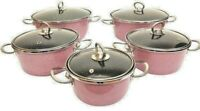 10 Pieces Non Stick Cookware Set,Sauce Pans, Pink, Made In Turkey