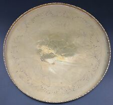 "Vintage Eastern Brass Tray 10 1/8"" Across, Design Shows 2 Seated Monks"