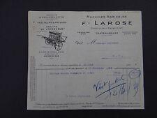 Facture LAROSE 1934 Machine agricole Tracteur semoir old bill Rechnung fattura