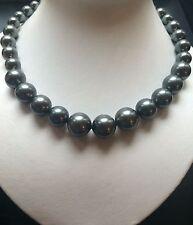 stunning big 14mm round Tahiti black south sea shell pearl necklace