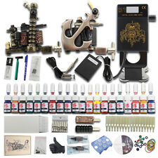 Complete Beginner Tattoo Kit 2 Machine Gun 20 Inks Needles Power Supply Set J25