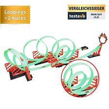 Kinderspielzeug Rennbahn mit vielen Loopings, zwei Autos, etlichen Aufklebern u.