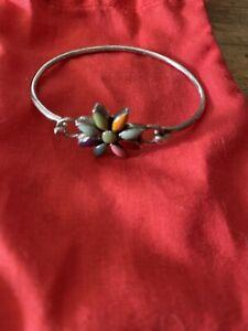 Multistone Sterling Silver Flower Bracelet